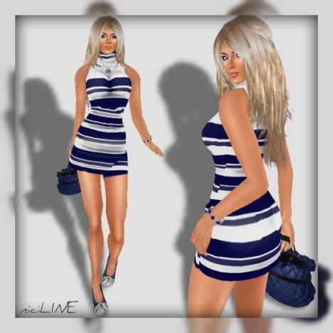 honey casual tight dress blue1