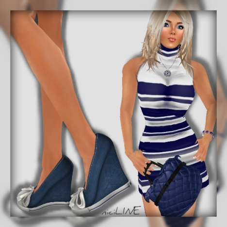 honey casual tight dress blue2