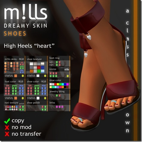 mills high heels heart