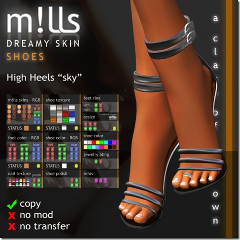 mills high heels sky