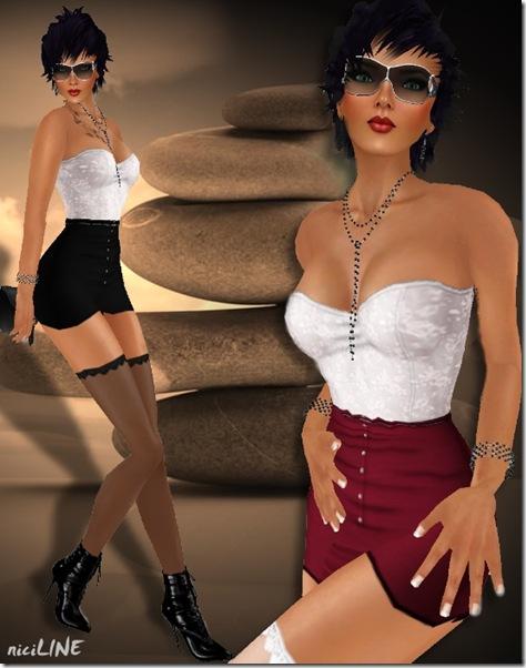 SLC Corsage & highwaisted Skirt black1