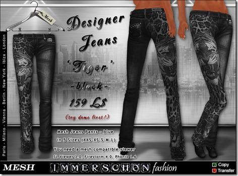 Mesh Designer Jeans Tiger black