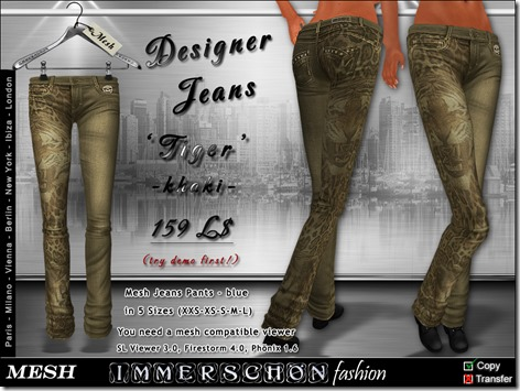 Mesh Designer Jeans Tiger khaki