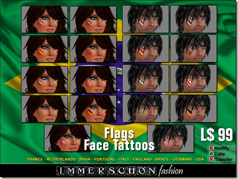 Immerschoen - Flags Face Tattoos Box