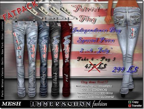 Mesh Designer Jeans Patriot Flag Fatpack sale