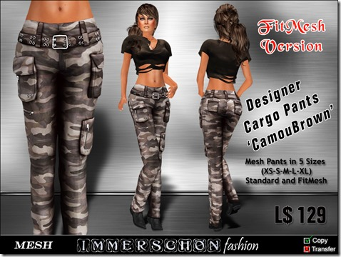 Girl - Mesh Cargo Pants 'CamouBrown'