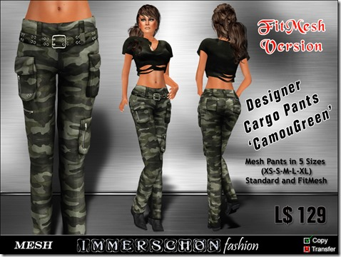 Girl - Mesh Cargo Pants 'CamouGreen'