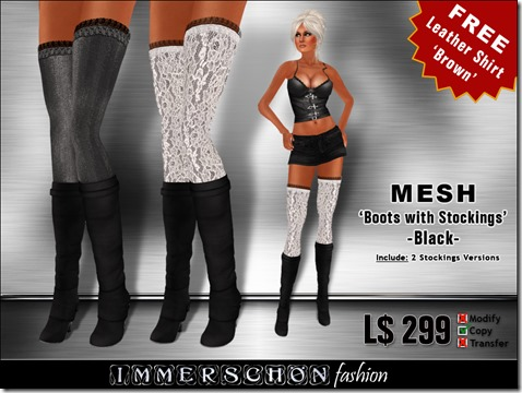Immerschoen Girl - MESH Overknee Boots w Stockinsg Black