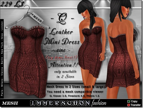 Mesh Q Leather Dress vine