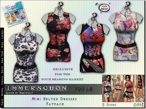 Mesh Belted Dresses Flower Fatpack FSM