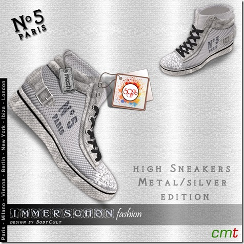 Mesh-High-Sneakers-No5-Paris-silver-50off