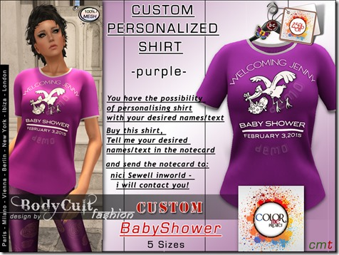 Mesh Custom Shirt Girl BabyShower purple cmp