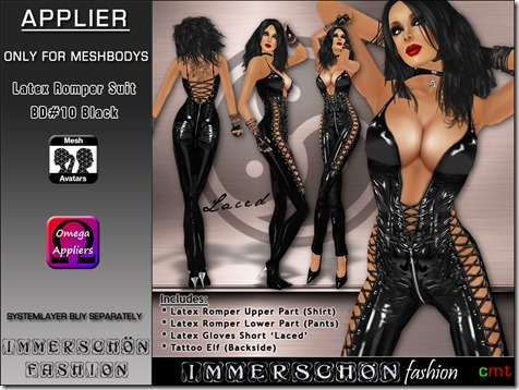 Immerschoen Girl - Latex Romper Suit black BD10  Omega