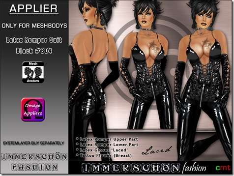 Immerschoen Girl - Latex Romper Suit black BD4 Omega