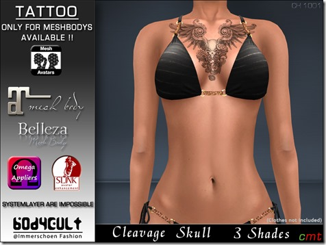 Tattoo Cleavage Skull Ch1001 MB