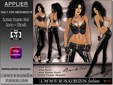 Immerschoen Girl - Latex Pants Set Lara black Omega