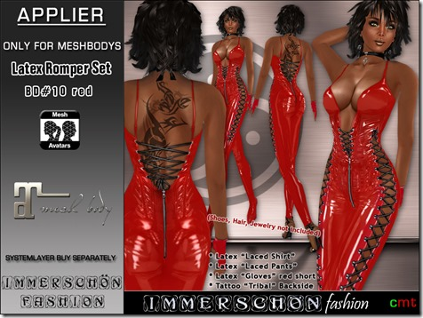 Latex Romper Set BD#10 red Maitreya