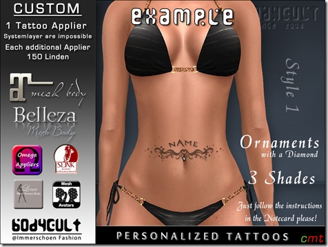 BodyCult Custom Tattoo personalized Ornament Style1