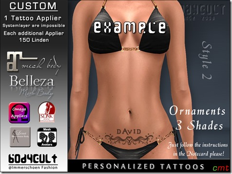 BodyCult Custom Tattoo personalized Ornament Style2