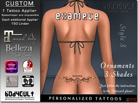 BodyCult Custom Tattoo personalized Ornament Style3
