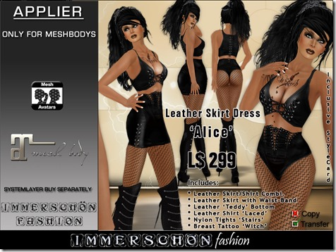 Immerschoen-Girl---Leather-Skirt-Dress-Alice-Maitreya-Applier