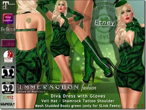 Diva Dress Etney St Patricks green