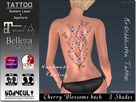 Tattoo Cherry Blossoms back Ch1015 WA
