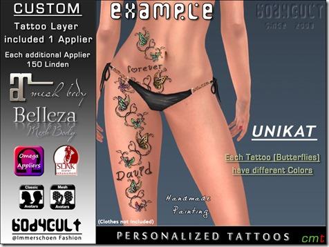 Tattoo Custom Butterflies Love UNIKAT2