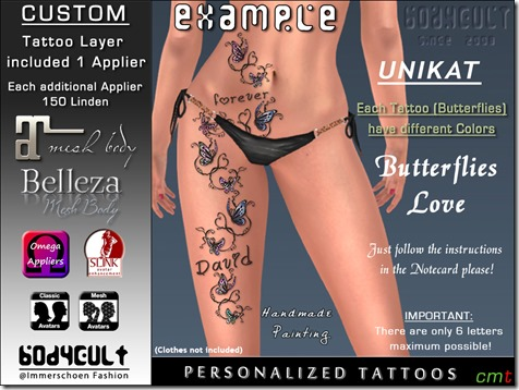 Tattoo Custom Butterflies Love UNIKAT