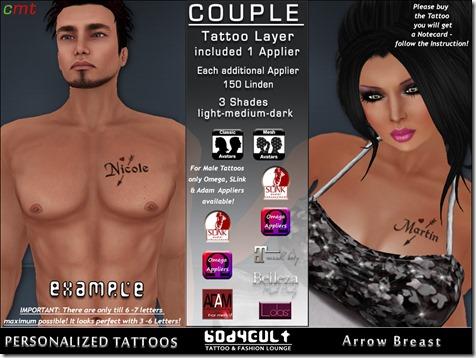BodyCult Custom Tattoo Couple Arrow Breast