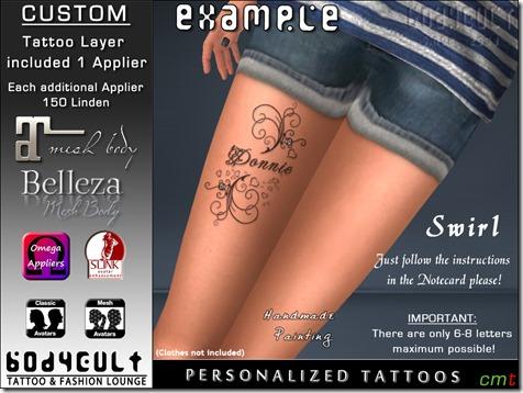 BodyCult Custom Tattoo Swirl Leg WA