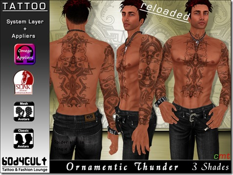 Tattoo Male Ornamentic Thunder WA