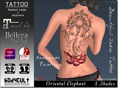 Tattoo Oriental Elephant Ch1023