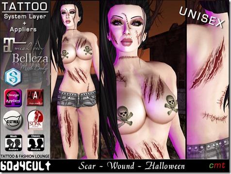 Tattoo Scar Wound Halloween WA